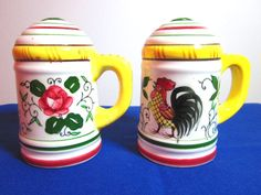 Rooster and Roses Salt and Pepper Shakers by virtualvic on Etsy