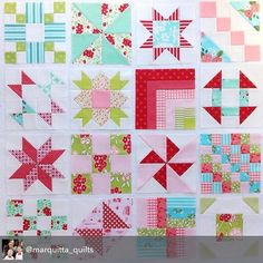 This is so fabulously Splendid! Allison - @marquitta_quilts - is making extra blocks for her sampler quilt while waiting for the Splendid Sampler Sew-along to start on Sunday. Fabrics are from assorted Bonnie & Camille collections - with a little Lella Boutique Gooseberry. You're Splendid Sampler-ing with Jane and Pat, right? #ShowMeTheModa #ModaFabrics #splendidsampler