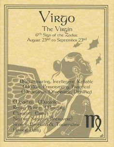 Virgo Zodiac Prayer Parchment Page Book of Shadows Horoscope Zodiac Celtic Wicca