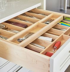 Whether it& a potato masher, a bunch of Tupperware lids, or just a jumble of nonsense, there& almost always something junking up a drawer. Kitchen Drawer Inserts, Kitchen Drawer Organization, Kitchen Drawers, Ikea Kitchen, Kitchen Pantry, Kitchen Storage, Kitchen Utensils, Kitchen Tools, Kitchen Gadgets