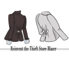 Either gather the center back of the jacket and pin with a broche, or sew two pieces of fabric on the back of the jacket and tie into a bow
