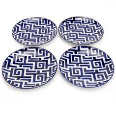 Vagabond Vintage Blue and White Moroccan Dessert Plates set of 4