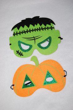 Halloween TWO EYE MASKS Felt PUMPKIN FRANKENSTEIN Glitter Accents CHILD SIZE