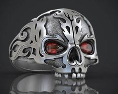 Skull Ring without jaw, Gothic jewelry, bikers skull ring, Man Skull Ring, silver skull ring