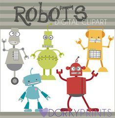Robots Digital Clip Art Set -Personal and Commercial Use- retro robots, kid robot clipart