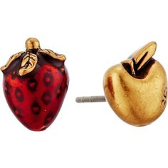 Marc Jacobs Fruit Studs Earrings (Chili Pepper) Earring ($30) ❤ liked on Polyvore featuring jewelry, earrings, red, red earrings, stud earrings, marc jacobs, red jewelry and red stud earrings