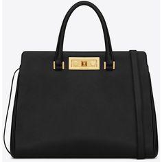 Medium Trois Clous Saint Laurent Tote Bag In Black Leather