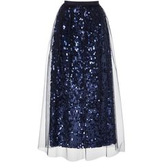 Blumarine Sequin A Line Skirt ($995) ❤ liked on Polyvore featuring skirts, blue, tulle overlay skirt, blumarine, sequin a line skirt, knee length a line skirt and blue sequin skirt