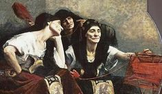 Picture of The Moirae: Clotho, Lachesis and Atropos, who were the daughters of Zeus and Themis.