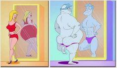 Diferencias del reflejo entre hombre y mujeres jajaja lol, Imagen graciosa que muestra como se miran en su reflejo los hombre y las mujeres