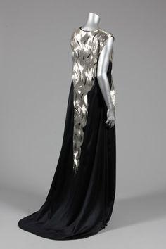 b7eee89f9b86 Alexander McQueen black satin and bugle beaded evening gown, 'In memory of  Elizabeth Howe