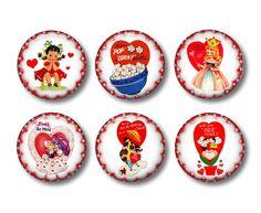 Valentine's Day Refrigerator Magnets Flat Backs Set of 6 pcs -Collection No.3