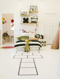 Tea Pea - Khandallah Village, Wellington and online / Photography by Julia Atkinson for Studio Home. I love the hopscotch idea! Cool Kids Bedrooms, Home Studio, Girl Room, Child's Room, Kid Spaces, Kids Decor, Room Inspiration, Decoration, Room Decor