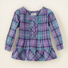 baby girl - long sleeve tops - plaid ruffle tunic | Children's Clothing | Kids Clothes | The Children's Place