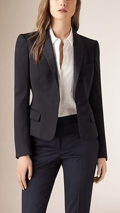 Ink Peplum Back Wool Blend Jacket - Image 2 Office Outfits Women, Casual Work Outfits, Blazer Outfits, Work Attire, Blazer Suit, Blazer Jacket, Lawyer Fashion, Office Fashion, Work Fashion