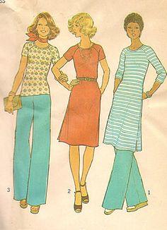 Simplicity 7540: raglan jersey 70s dress