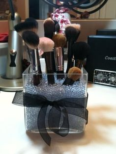 make up brush holder; love this idea!! Not I just need my own bathroom! Hope things look good in July or August!(: