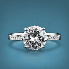 2.04 Carat Round Brilliant Cut Diamond and Platinum Ring