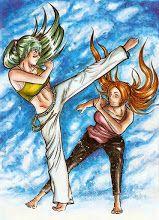 #2girls, #AlternateHairstyle, #AquaHair, #Arrancar, #ArtistRequest, #Barefoot, #Bleach, #Breasts, #BrownEyes, #Capoeira, #ClenchedHand, #ClenchedTeeth, #Collarbone, #Espada, #FacialMark, #Female, #GreenHair, #InoueOrihime, #Kicking, #LargeBreasts, #Lips, #LongHair, #Midriff, #MultipleGirls, #Navel, #NellielTuOdelschwanck, #OrangeHair, #Pants, #Ponytail, #Smile