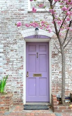 This is a bright and cheerful lavender door that isn't lacking in saturation like a lot of other pastels do. I love the way the modern light purple plays off the distressed, whitewashed brick. The pink flowering tree to the right is just the cherry on top of this adorable vignette. Benjamine Moore Amethyst Cream 2071-50orLily Lavender 2071-6 #frontdoor #purple Purple Front Doors, Purple Door, Painted Front Doors, Front Door Colors, Bright Front Doors, Front Door Entrance, Glass Front Door, Front Door Decor, Entry Doors