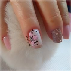 Pretty Nail Art, Cute Nail Art, Cute Acrylic Nails, Gelish Nails, Toe Nails, Flower Nails, Finger, Nail Arts, Hair And Nails