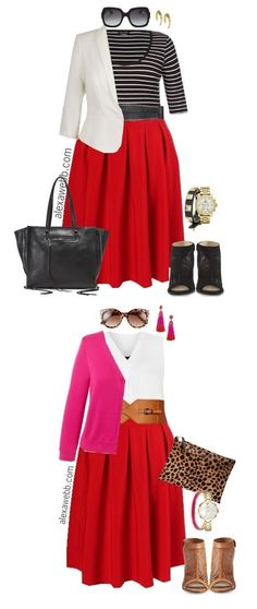 Looks I love Plus Size Red Skirt Outfits - Plus Size Work Outfit - Plus Size Fashion for Women - ale Red Skirt Outfits, Red Skirts, Rock Outfits, Dress Red, Plus Size Fashion For Women, Curvy Women Fashion, Womens Fashion, Plus Size Work, Looks Plus Size