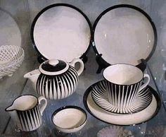Upsala-Ekeby   Upsala-Ekeby, Sweden, BLACK ZEBRA, 1950's, designed by Eugen Trost