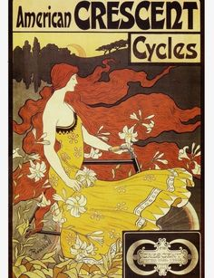 ART NOUVEAU Print of Lady with long flowing reddish brown hair on Crescent Cycle Ad--Featured in Etsy Treasury List
