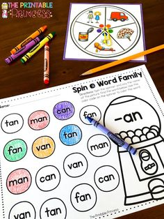 Spin a Word Family FREEBIE: Students spin the spinner and say the name of the picture. They find the matching picture on their paper and color it using the color code.