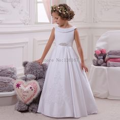Aliexpress.com : Buy Long Stain first communion Dresses for girl's 2016 Appliqued Sleeveless Flower Girl's Dress New Cheap Pageant Dress CGF083 from Reliable dress paillette suppliers on Evening Dresses 1991  | Alibaba Group