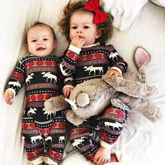 Christmas Pajamas Dress For Baby Girls Kids Boy Vestidos Toddler Baby Boy Girl Christmas Long Sleeve Deer Print Romper Clothes