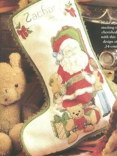 Dear Santa lots more stockings here Cross Stitch Christmas Stockings, Cross Stitch Stocking, Xmas Stockings, Cross Stitch Embroidery, Cross Stitch Patterns, Dear Santa, Needlepoint, Holiday Decor, Design