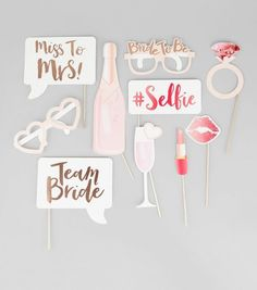 Team Bride rose gold and pink photobooth props for hen party and wedding