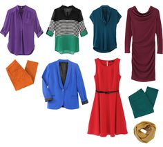 Jewel tones post: I love the purple top (that color!!), the red dress (I love how I look in candy red), the burgundy dress (the shape), and the green/black striped top (how fun!).