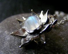 Lotus Pendant  Water Lily Necklace  Silver Flower by spaceweaver