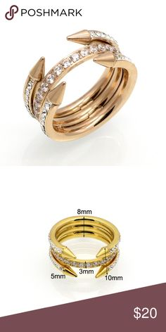 Spike Ringn Double Arrow, 3 Layered Trendy Ring. Stainless Steel Gold Plated. Rose gold tone. High Quality ! Size: 7.  NO OFFERS, already on sale Jewelry Rings