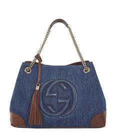 d10430d9f88c GUCCI  Soho  Dark Denim Chain Shoulder Bag with Removable Strap 308982 -  Measures 15 length x 6 width x 11 height inches (large size).