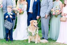 Ringbearer in Navy, Golden Retriever Wearing a Floral Wreath | Pastel Mint, Coral, Blush + Gold Patriots Point Pavilion Wedding by Charleston wedding photographer Dana Cubbage Weddings