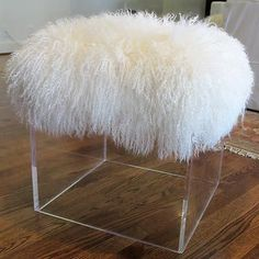Tibetan Lamb Lucite Cube Bench Stool Table Acrylic Hollywood Regency | eBay mailboxmaven--seller $1600.