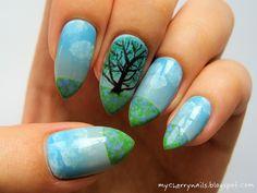 nails, nailart, nail art, manicure, stiletto, stilettos, stiletto nails, tree, sky, clouds, blue, green, spring http://mycherrynails.blogspot.com/2014/04/dab-fabrykant-i-cebulice.html