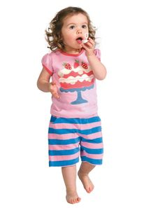 Strawberry sweet...soft towelling Frugi shorts & strawberry shortcake t-shirt. 6-12 months, shorts REDUCED from £13.60 to £6.80
