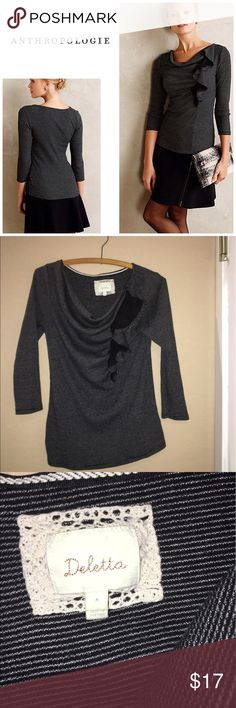 Anthropologie Ophelia ruffle top By Deletta . Size m and will fit a 6-10. In great condition . Will bundle for 10% off Anthropologie Tops