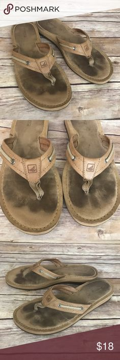 Sperry Top-Sider Flip Flop Sandals Size 8 Sperry Top-Sider Brown leather flip flops. Size 8. Great condition Sperry Top-Sider Shoes Sandals