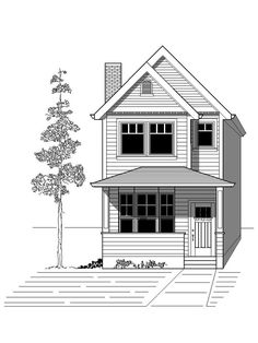 House Plan 76801 with 3 Bed, 3 Bath House Plans 2 Story, Narrow Lot House Plans, Small House Floor Plans, Cottage Style House Plans, Best House Plans, Duplex Floor Plans, Small Bungalow, Small Cottage Homes, Traditional House Plans