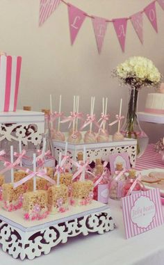 Pink Birthday Party treats!  See more party planning ideas at CatchMyParty.com!