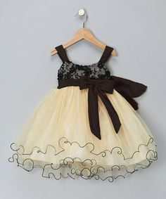 Love this Gold & Black Bow Dress - Toddler & Girls by Chic Baby on #zulily! #zulilyfinds