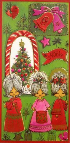 Mid century vintage unused Christmas cards 3 girls LOT of 6 MOD 60's look