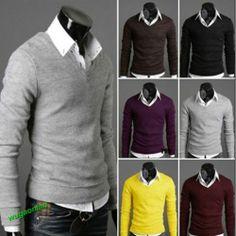 2013 New Mens Stylish Slim Fit V-neck Sweater Jumper Tops Cardigan 6 Colors