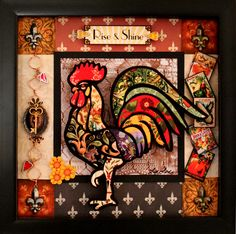 "Carol Craig: Using many patterns from Dover's Historic Textile Designs CD-ROM, I created ""Rise & Shine"" a 9"" x 9"" multi-layered rooster picture. This picture can be placed on a table using the backboard with stand or it can be hung on the wall using the sawtooth picture hanger.@Eileen Vitelli Lucas Publications"