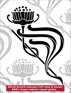 Repeat No 22 stencil from The Stencil Library ART NOUVEAU range. Buy stencils online. Stencil code DE231.